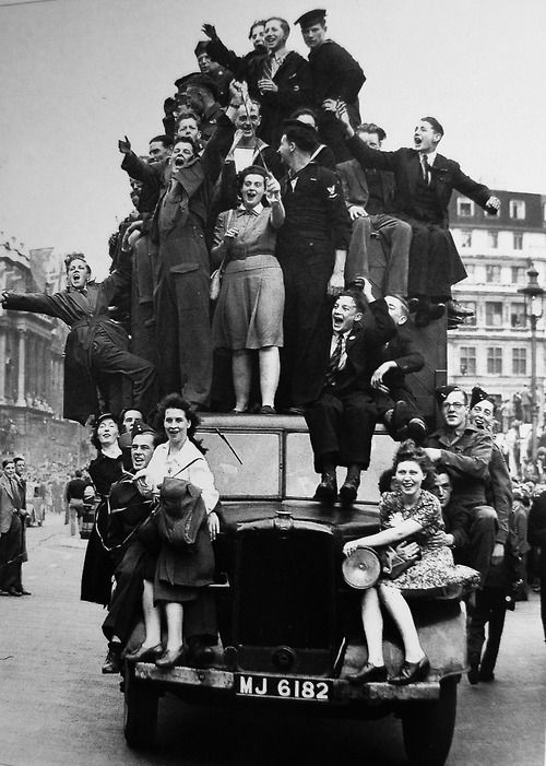 Cheers in London as the war in Europe comes to an end. VE Day, May 8, 1945. BBC