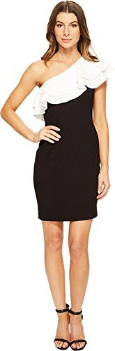 Aidan by Aidan Mattox Women's One Shoulder Cocktail Dress with Contrasting Double Ruffle, Black/Ivory, 10
