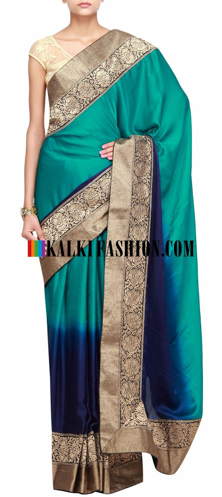 Buy Online from the link below. We ship worldwide (Free Shipping over US$100)  http://www.kalkifashion.com/shaded-saree-in-tone-of-blue-featuring-with-zari-border-only-on-kalki.html