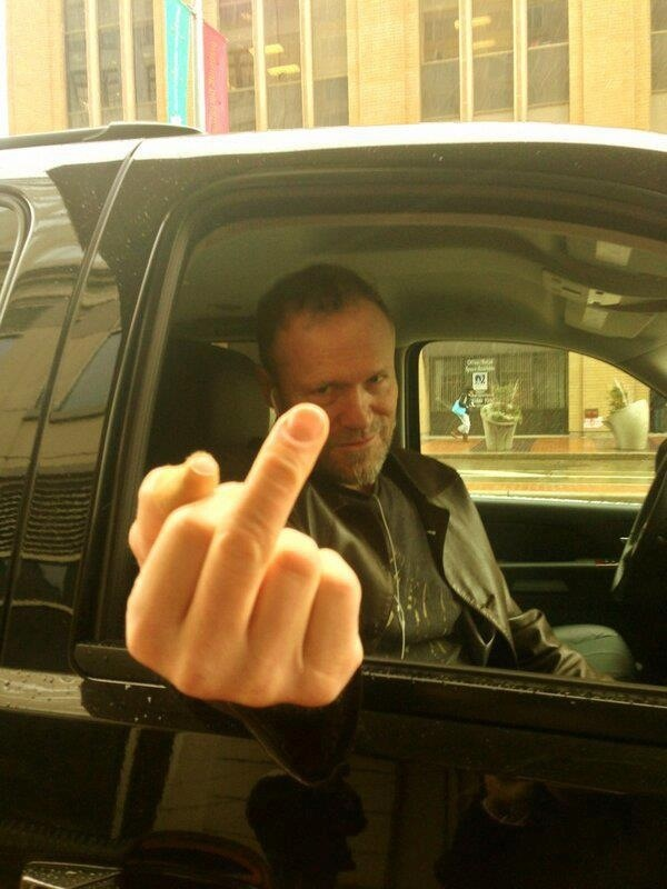 Michael Rooker giving the New England salute. :)  Back atcha' Michael!