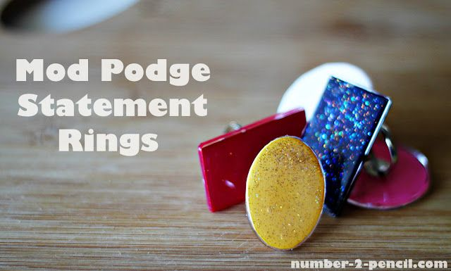 DIY Mod Podge Statement Ring made with Mod Podge Dimensional Magic: Big Rings, Statement Rings, Crafts Ideas, Podge Statement, Diy Mod, Mod Podge, Diy Jewelry, Diy Rings, Diy Statement