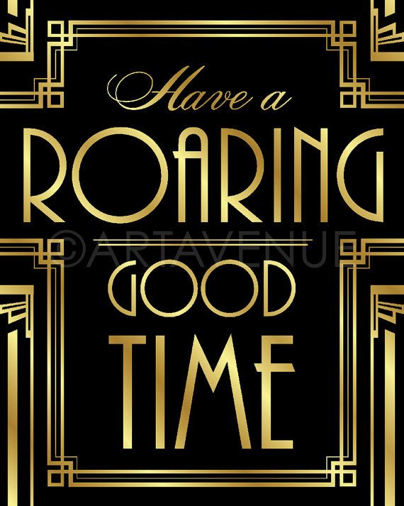 Gatsby Decor Sign Roaring Good Time Quote by ARTAVENUEPRINTS