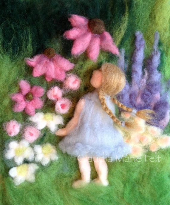Needle Felted Girl in Flower Garden 3D by ClaudiaMarieFelt on Etsy
