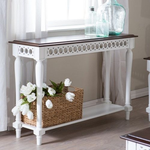 Belham Living Jocelyn Console Table - White/Walnut - Console Tables at Hayneedle