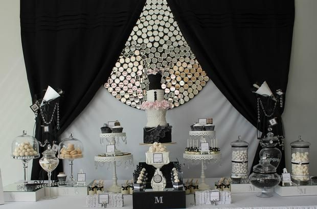 Runway/Catwalk Black & White Dessert Table