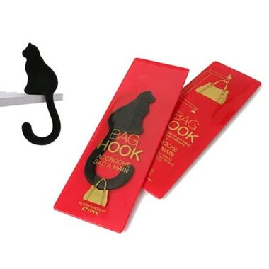 Accroche sac à main design chat