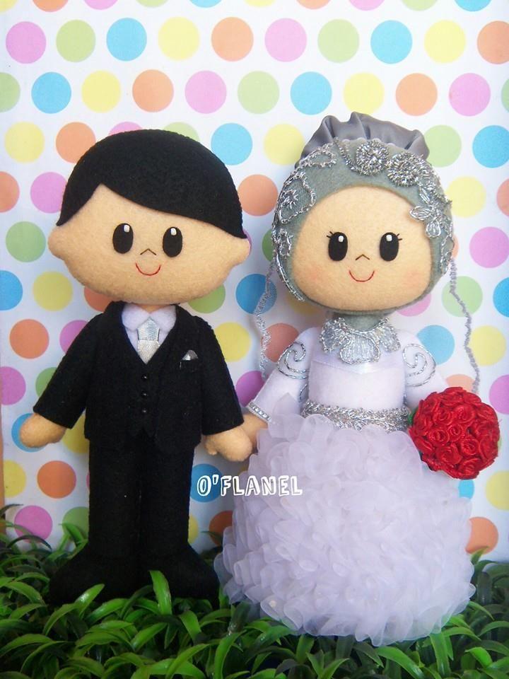 Muslim bride groom international taste felt doll