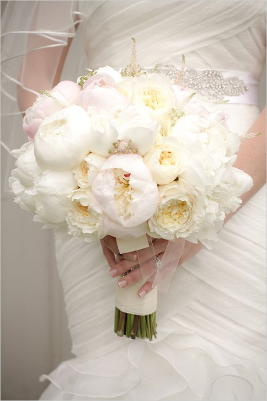 bridal bouquet - white peony bouquet