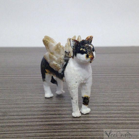 Polymer Clay Angimal Figur Katze mit Flügeln Beispeil / einzigartige handgefertigte Skulptur / Schutzengel Tier