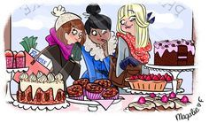 Sweets and girl friends, girls illustration / Dolci e Amiche, illustrazione ragazze -Art by Magalie Foutrier