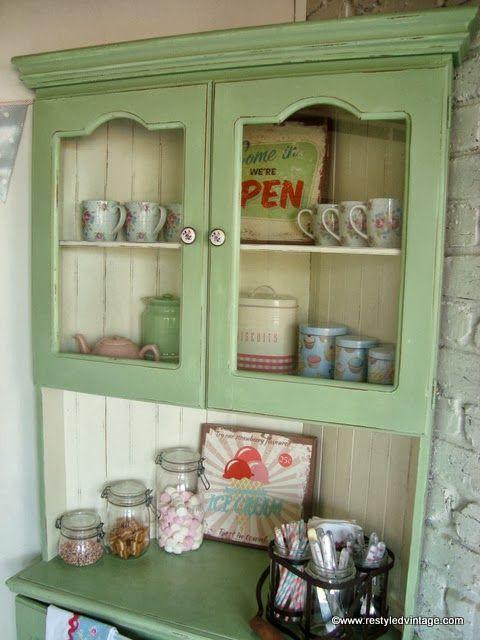 Restyled Vintage: Vintage Green and Cream Corner Hutch