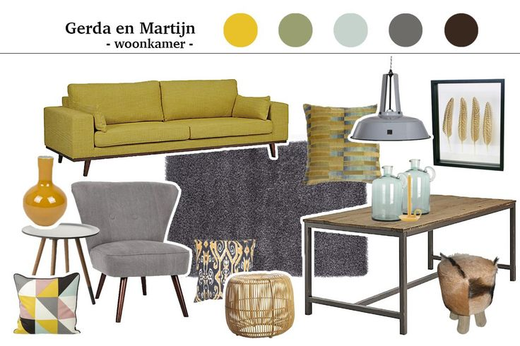 jaren 70 interieur - Makeithome.nl interieur advies retro geel met grijs. Woonkamer collage