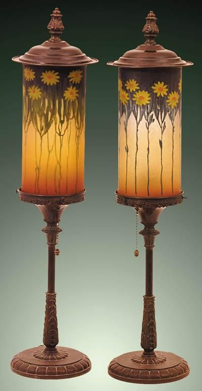 66 best handel lamp co images on pinterest buffet lamps table a pair of daisy handel reverse painted table torchieres having a matched pair of shades difficult mozeypictures Choice Image