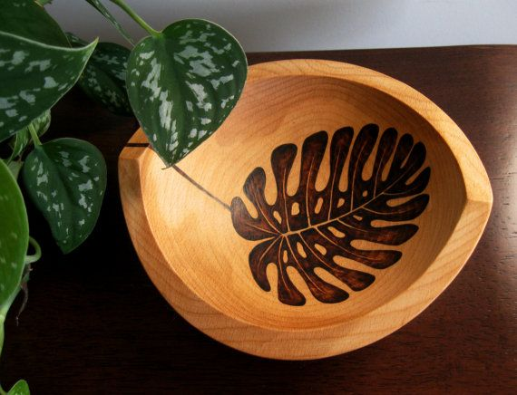 Wooden Bowl - Monstera Leaf, Pyrography Design, Woodburned Design, Beech Wood, Made to Order via Etsy