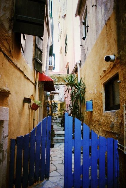 Blue door in old town of Corfu