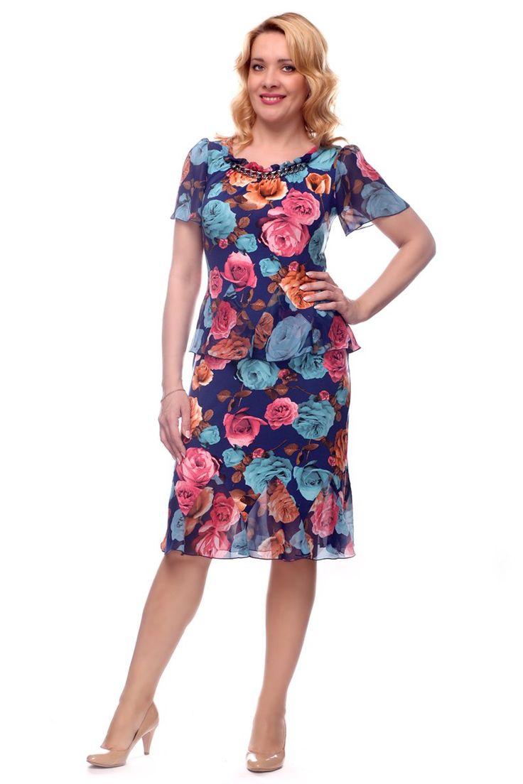 Новинка Лета!!! Платье Лайма цветы. Сегодня в продаже! Легкое платье прилегающего силуэта с баской из шифона и воланами по низу изделия.