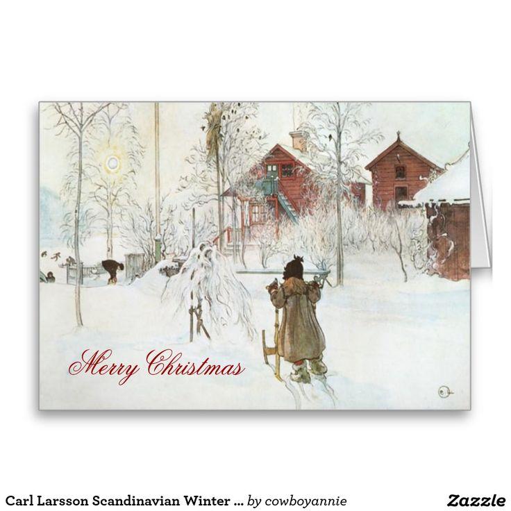 Carl Larsson Scandinavian Winter Home Christmas Greeting Card