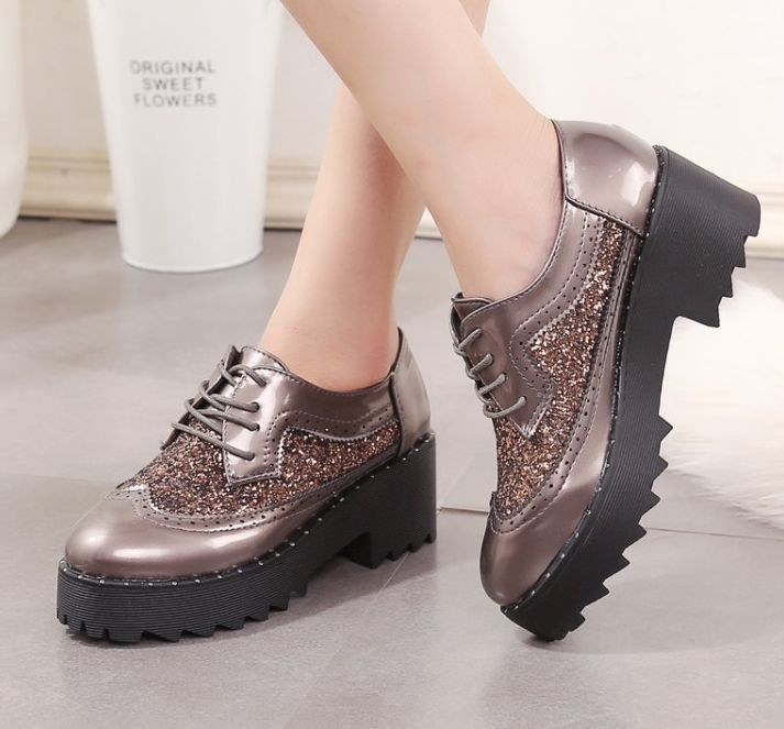 Womens Squins Hollow Round Toe Muffin Lace Up Pump Chunky Loafer Sneakers B230