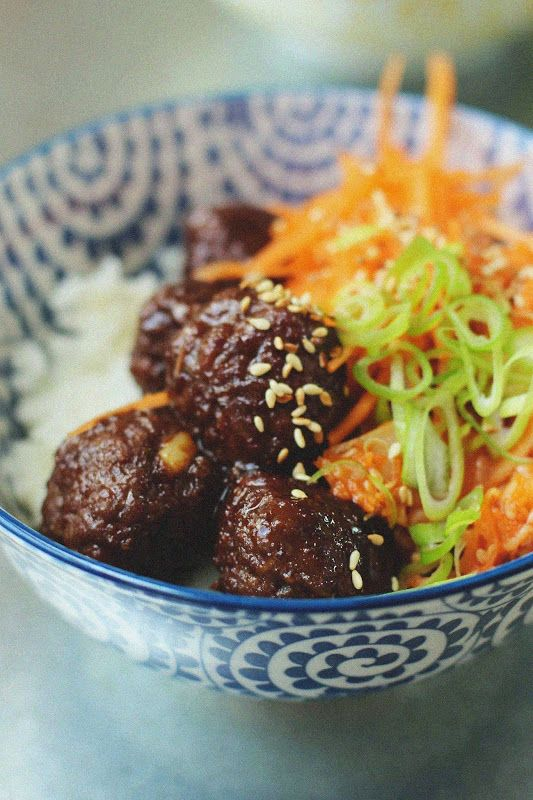 Korean Meatballs and Quick Kimchi Rice Bowls