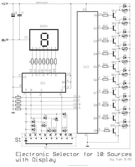 Este é um circuito de chave seletora eletrônico de 10 posições digitais por relés e com indicador por display de 7 segmentos...