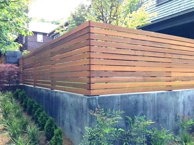 Block Wall With Wood Fence Concrete Block Walls Design Cinder Block Backyard Fences Modern Backyard Concrete Retaining Walls