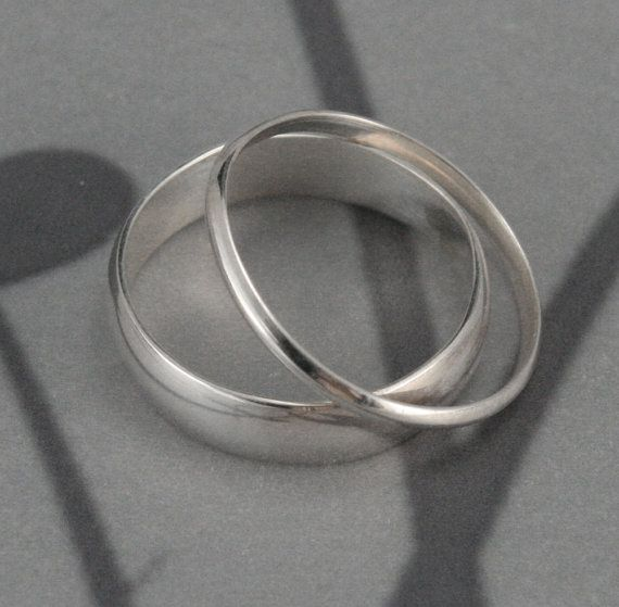 Through Thick and Thin Wedding Set--Solid Sterling Silver Half Round Wedding Band Set Custom made in YOUR sizes