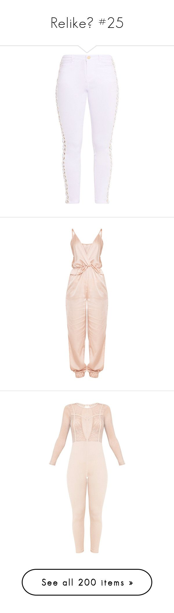 """""""Relike💕 #25"""" by moon-crystal-wolf ❤ liked on Polyvore featuring pants, white trousers, stretchy pants, white pants, stretch pants, white stretchy pants, jumpsuits, playsuits, dresses and jumpsuits/rompers"""