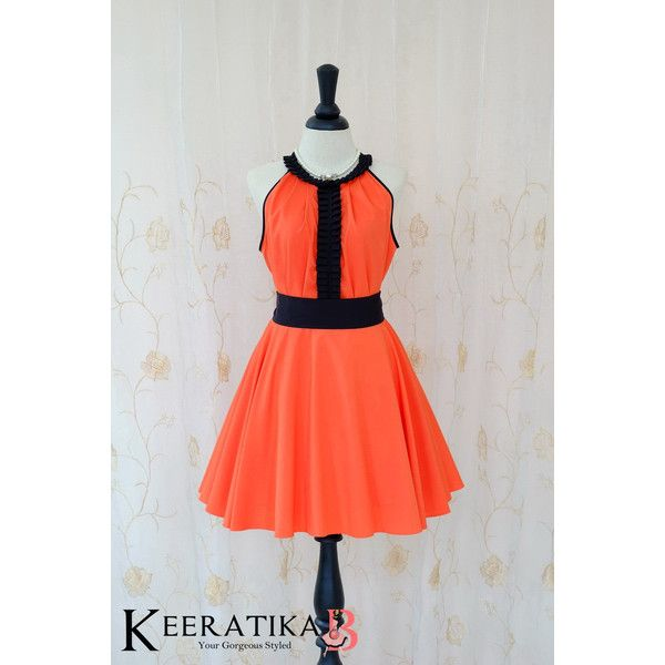 Luna Night Sweet Dress Pleated Top Dress Orange Party Dress Wedding... ($48) ❤ liked on Polyvore