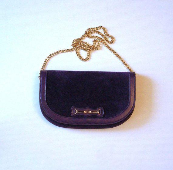 Sac en cuir et daim violet / Vintage 70's / Purple leather bag / bag purple leather pouch 70's / pochette 1970