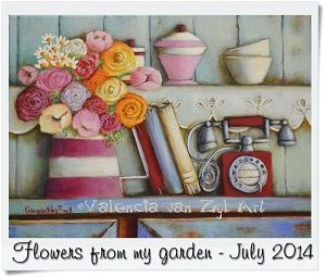 Valencia Van Zyl Art Acrylic on canvas www.facebook.com/... Sold Still life telephone red lace flowers kitchen