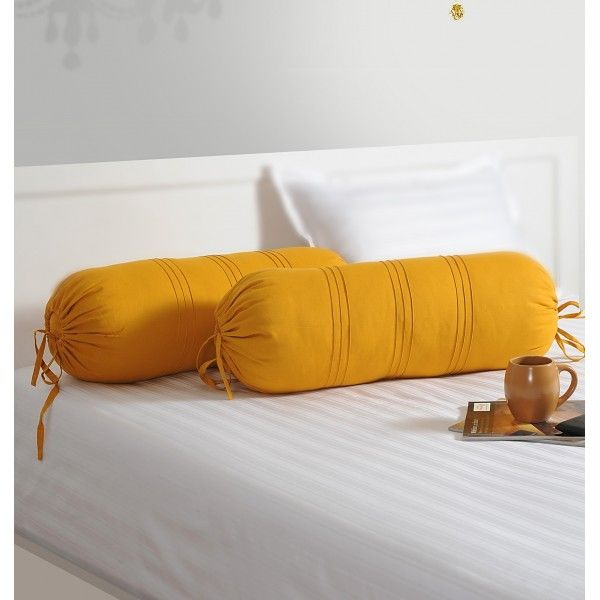 Yellow Bolster Cover- So spice up your room and adorn your Diwan sets/sofa sets or even your beds.