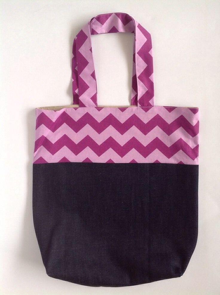 Ladies Handmade Denim & Chevron Shopper tote school library or casual bag