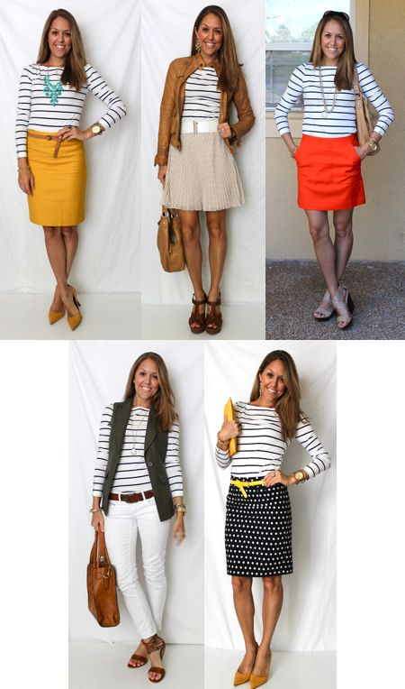 Navy striped shirt - 10 ways. A great mix to ponder for Spring. Shoes need to be switched out for more office appropriate though! #PersonalLeadership #Women