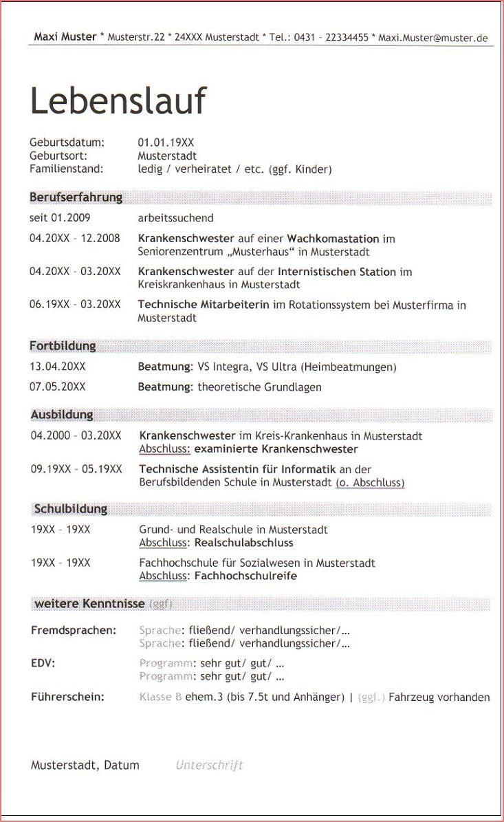 12 Lebendig Lebenslauf Krankenschwester Fotos Learn German Free Resume Template Download Resume Words