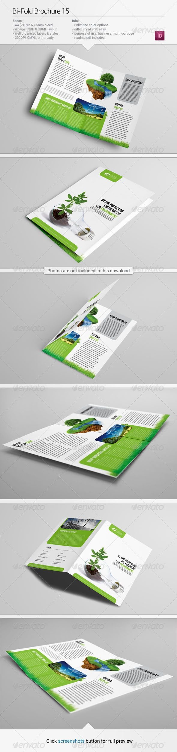 Bi-Fold Brochure 15 #GraphicRiver About this item Specifications: + 420×297mm (2x A4), + 300 dpi, + CMYK, + Bi-fold, + Unlimited color options, + 5mm bleeds, + Well organised layers, + Fully editable InDesign .INDD and .IDML files, + Photos and fonts are NOT included (links below and in Read Me file). Fonts used: Roboto – .fontsquirrel /fonts/roboto Bebas Neue – .fontsquirrel /fonts/bebas-neue If you have any questions or a problem with any of my files don't hesistate to contact me via my…