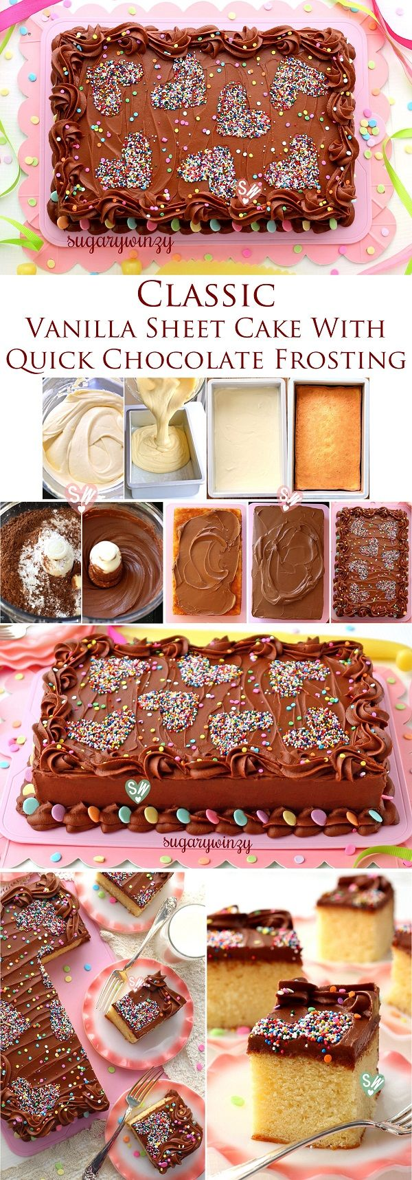 SugaryWinzy Classic Vanilla Sheet Cake with Quick Chocolate Frosting