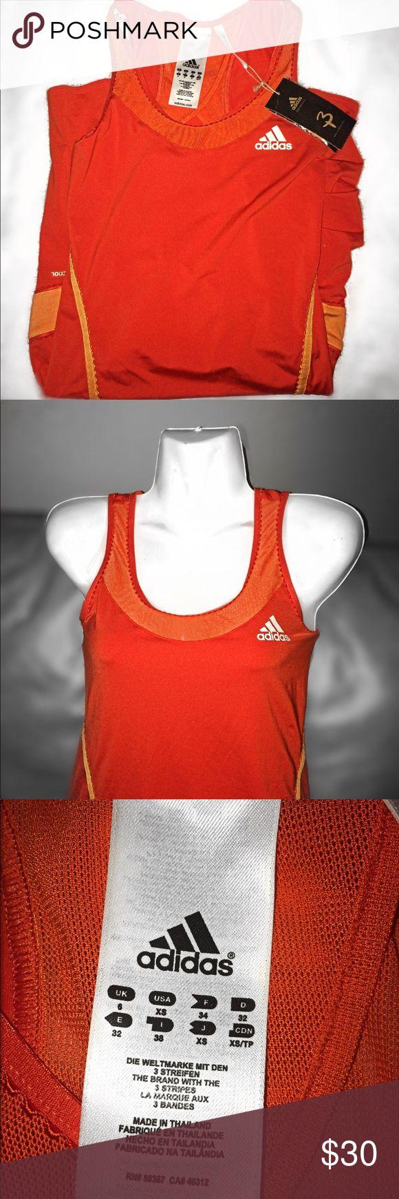 ✨Adidas Tennis Dress✨ Sporty Orange Tennis Dress. Ruching On Bottom Of Both Sides. White Adidas Logo. With A Lighter Orange. Never Worn. adidas Dresses