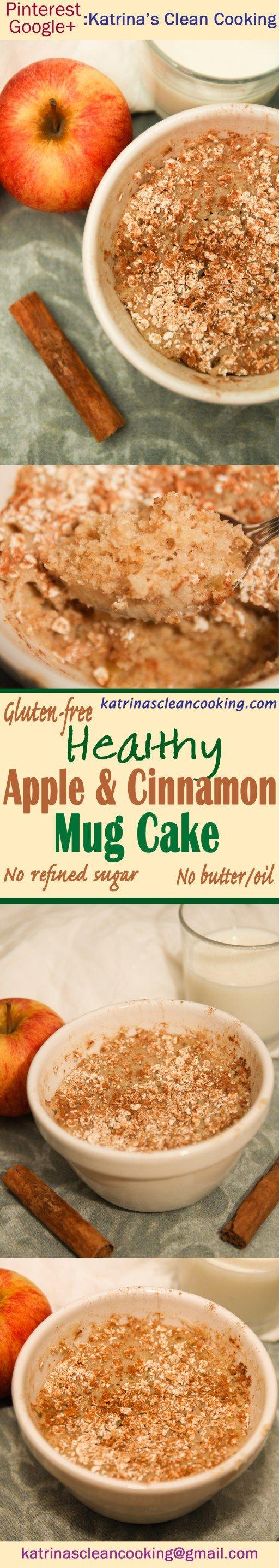 Healthy Apple Cinnamon Oat Mug Cake #healthy #mugcake #vegan #glutenfree