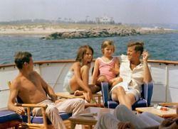 JFK with Caroline, Maria Shriver, and Stephen Smith.