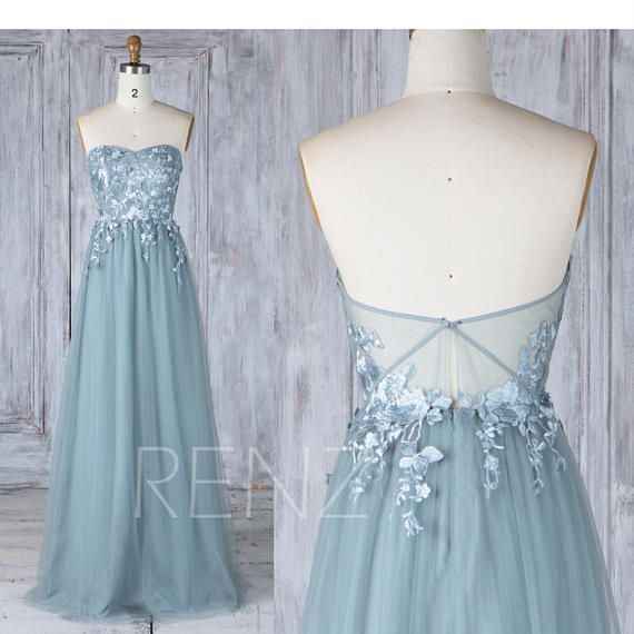 2017 Dusty Blue Bridesmaid Dress with Lace AppliqueSweetheart