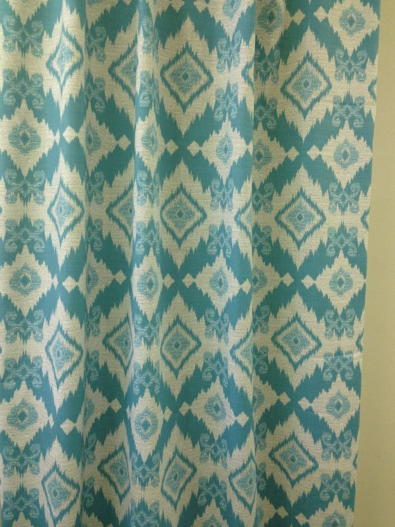 Extra Long Fabric Shower Curtain 72 X 84 Inches Richloom Solarium Outdoor Santaeo Pool Aqua