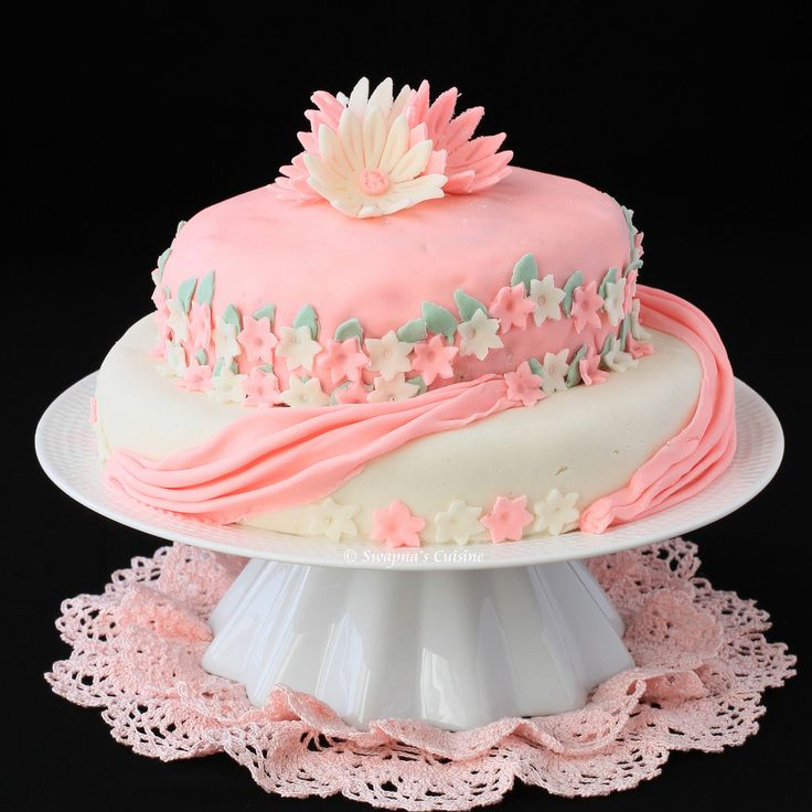2+tiered+fondant+cakes | Two-Tier Birthday Cake with Marshmallow Fondant ~ My first fondant ...