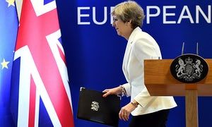 Theresa May at the end of a European Council meeting on 23 June.