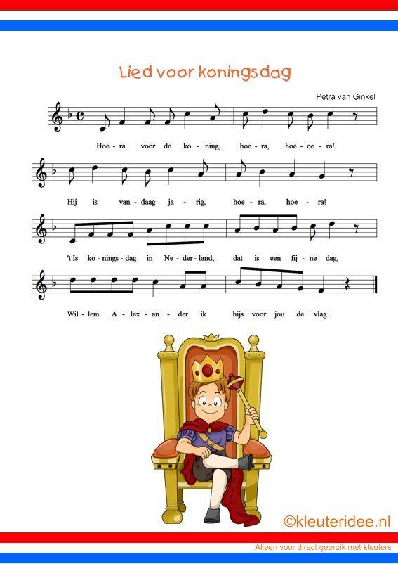 Lied voor koningsdag met sprankelende meezingmuziek, kleuteridee.nl , free printable .
