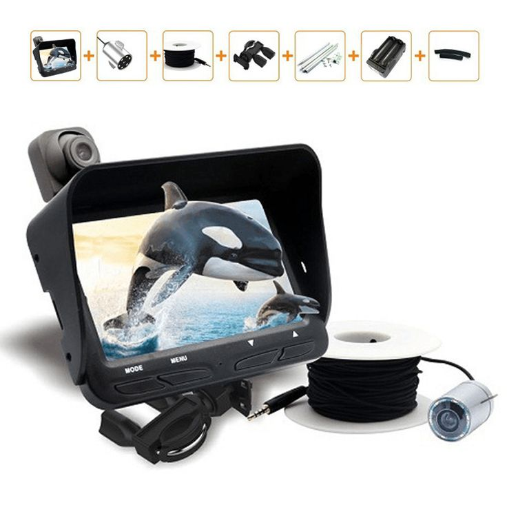 """Underwater Night Vision Video Fishing Camera 2 Lens/720P/20m Cable Line/4.3"""" LCD Monitor/6 LED Light Visual Fish Finder Pesca"""