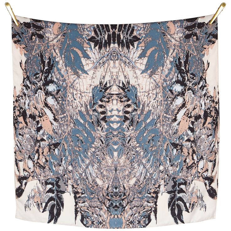 FALL SYMMETRY silk scarf | Soft Multi Beautiful silk scarf, size 70x190cm, in 100% Silk Twill with rolled hand stitched edges aw16 print symmetry details danish design