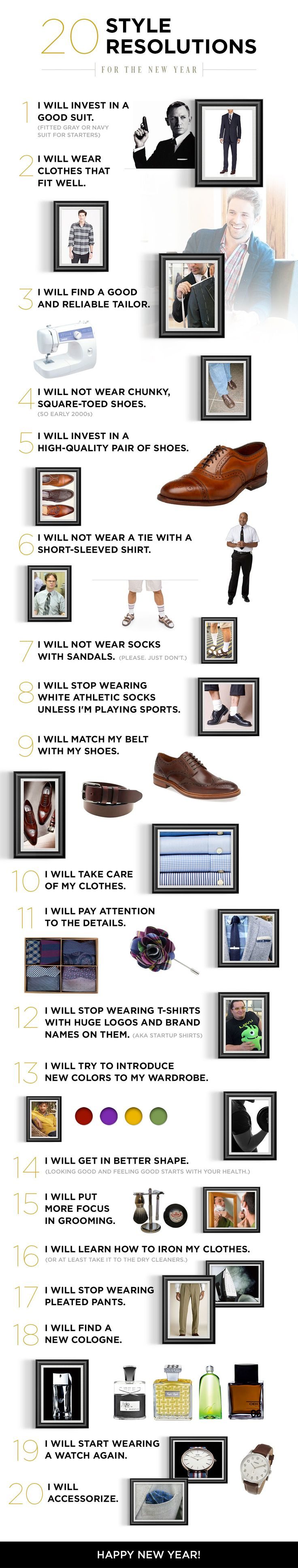 Create a new you in 2015! We've come up with 20 style resolutions that should help you start dressing better immediately. Happy New Year from Famous Outfits!