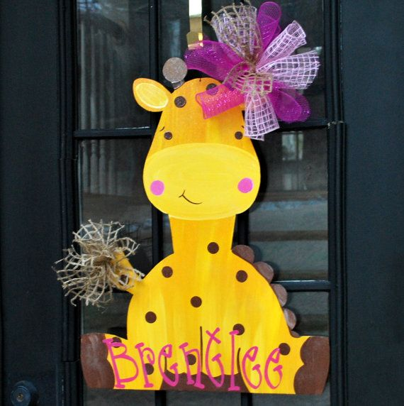 Hey, I found this really awesome Etsy listing at https://www.etsy.com/listing/180771587/baby-door-hanger-giraffe-door-hanger