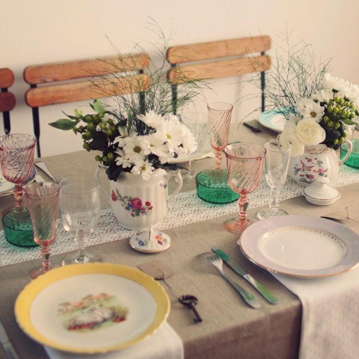 charlette et juliotte table dressée vaisselle vintage location service mariage ancien rétro