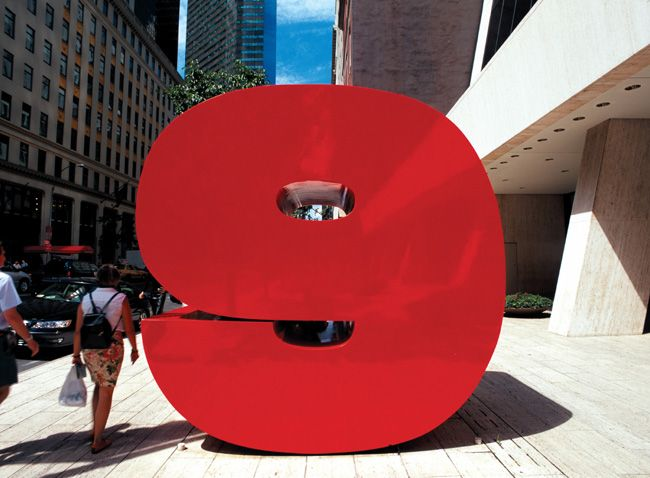 What we came up with turned an identity into public art. In lieu of a number for the facade, we designed a massive, nine-foot-high, sculptural numeral 9 to be placed on the sidewalk, right in the flow of pedestrian traffic...